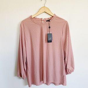 Adrianna Papell Knit Clip Dot Ruffle Turtleneck XL